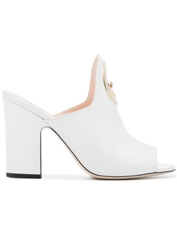 Fendi F Is For Fendi 95 Leather Mules - White
