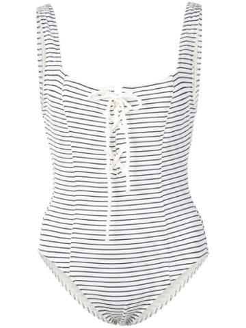 Solid & Striped Striped Lace-up Swimsuit - White