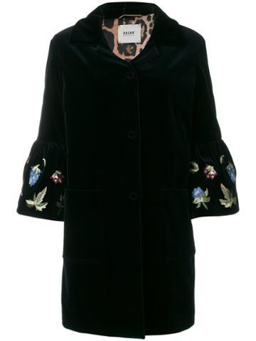 Bazar Deluxe - Velvet Embroidered Sleeve Coat - Women - Cotton/spandex/elastane - 44, Blue, Cotton/spandex/elastane