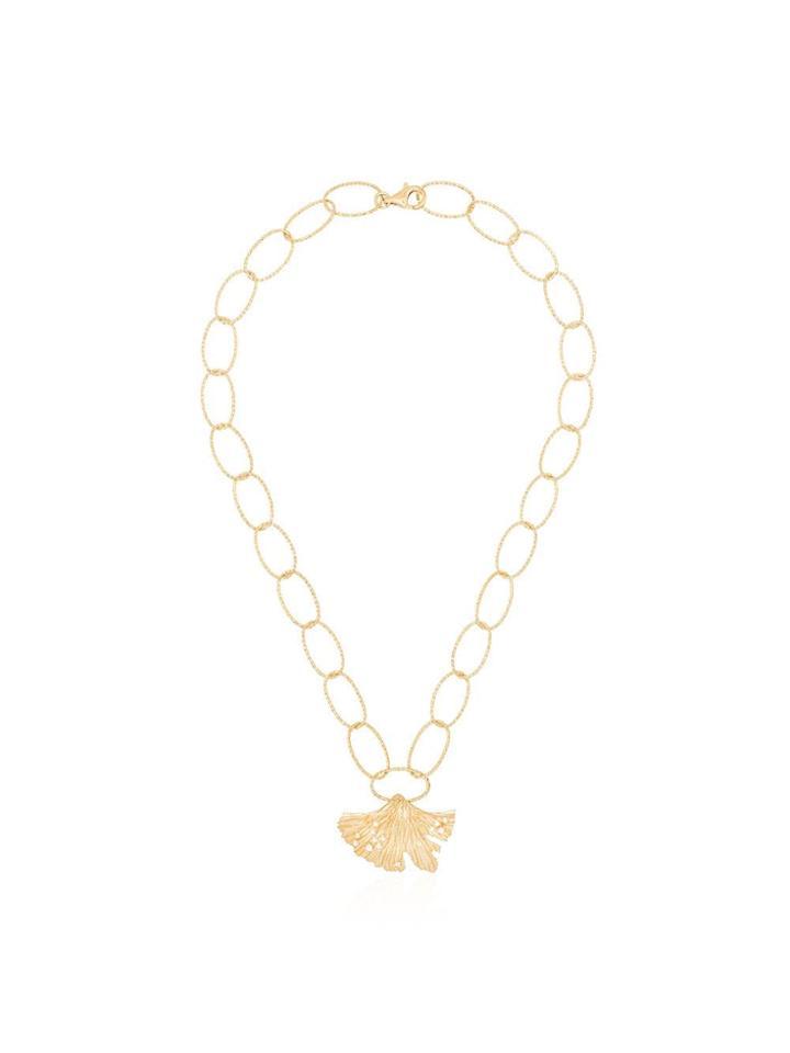 Apples & Figs 24kt Gold Vermeil Allegory Of Hope Leaf Necklace -