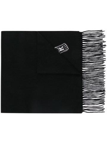 Karl Lagerfeld Patch-work Fringed Scarf - Black