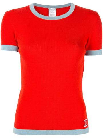 Chanel Vintage Cc Short Sleeve Tops - Red