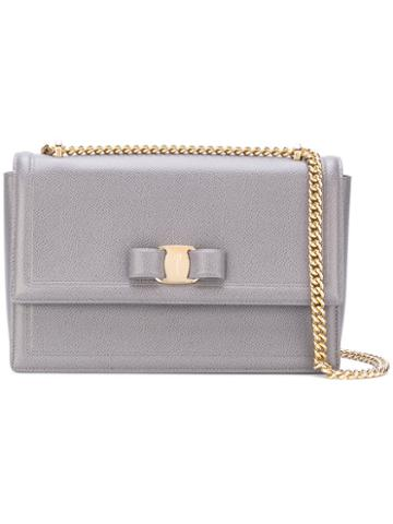 Salvatore Ferragamo - Vara Crossbody Bag - Women - Calf Leather/brass - One Size, Grey, Calf Leather/brass