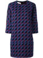Marni Rhythm Print Shift Dress, Women's, Size: 42, Blue, Silk/virgin Wool