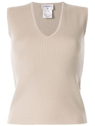 Chanel Pre-owned 1999 Ribbed Knitted Top - Brown