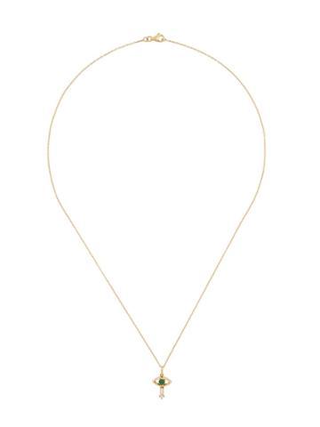 Ileana Makri 18kt Yellow Gold Tiny Eye Emerald And Diamond Pendant