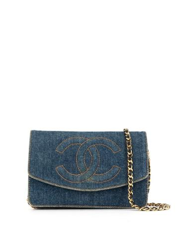 Chanel Pre-owned 1997's Denim Cc Stitch Wallet On Chain - Blue
