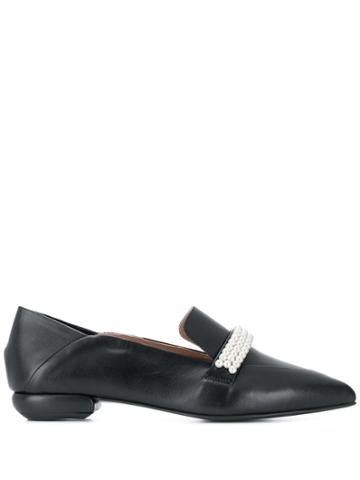 Suecomma Bonnie Pearl Detailed Pointy Loafers - Black