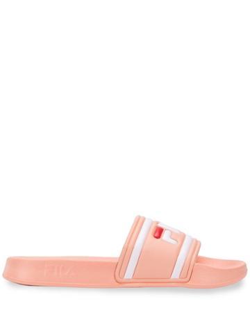 Fila Logo Strap Slides - Pink