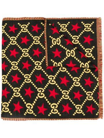 Gucci Knitted Interlocking Gg Scarf - Black