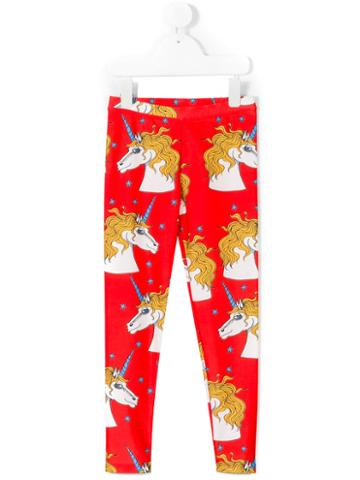 Mini Rodini - Unicorn Star Fancy Leggings - Kids - Spandex/elastane/recycled Polyamide - 7 Yrs, Girl's, Red