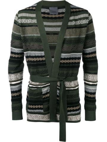 Laneus Belted Cardigan, Men's, Size: 46, Green, Cotton