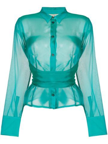 Romeo Gigli Vintage Belted Semi-sheer Shirt - Green