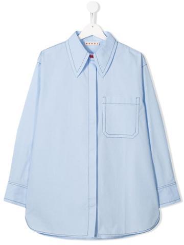 Marni Kids Teen Topstitch Shirt - Blue