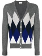 Ballantyne Diamond Patterned Cardigan - Grey