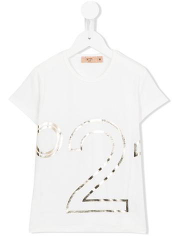 No21 Kids Logo Print T-shirt, Kids Unisex, Size: 11 Yrs, White, Cotton/spandex/elastane