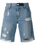 Rta Distressed Denim Shorts - Blue