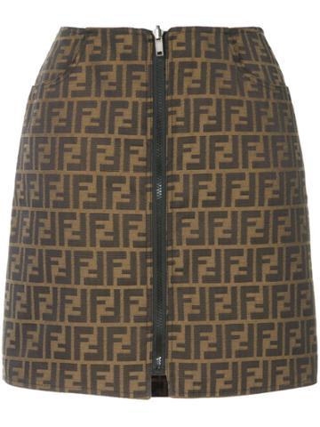 Fendi Vintage Zucca Pattern Reversible Skirt - Brown