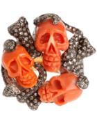 Samira13 Skull Cluster Ring, Women's, Metallic