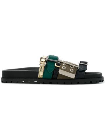 Sacai Belt Embellished Flat Slippers - Black