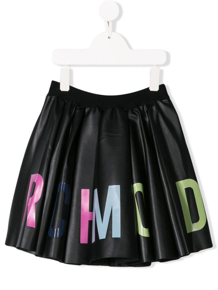 John Richmond Junior Logo Print Faux Leather Circle Skirt - Black
