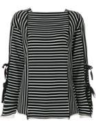 3.1 Phillip Lim Striped Side-tie Longsleeve T-shirt - Black