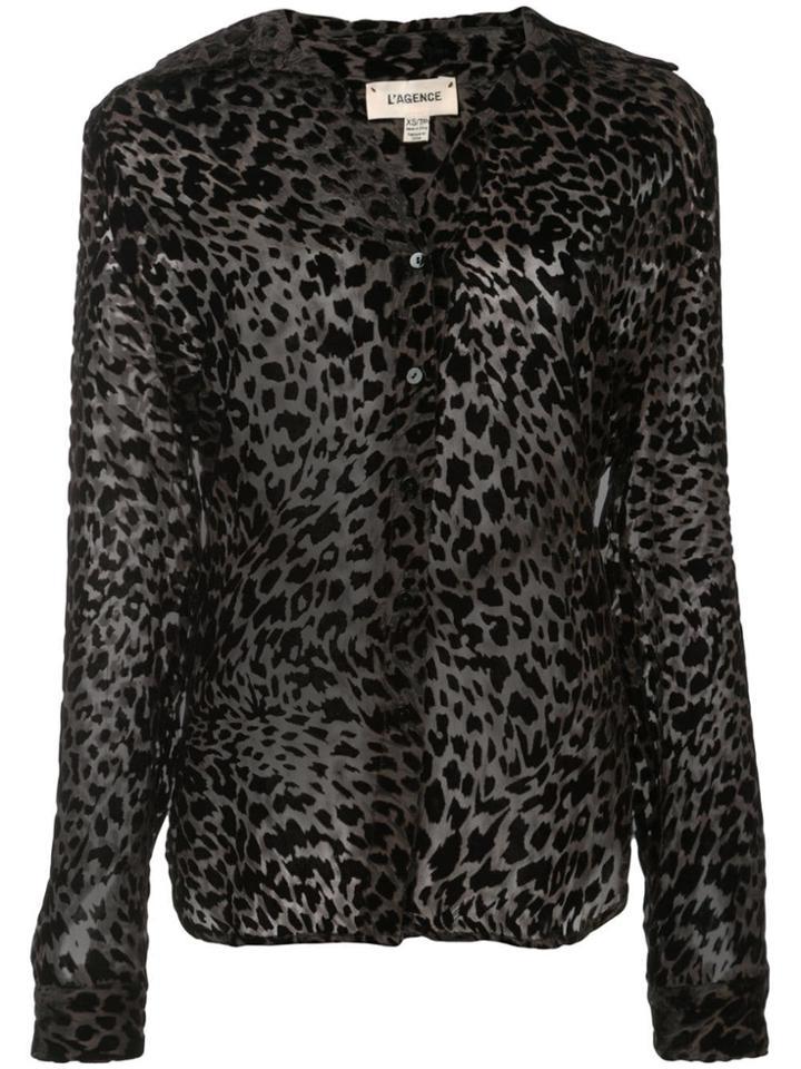L'agence Leopard Print Blouse - Grey