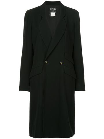 Chanel Vintage Double-breasted Midi Coat - Black