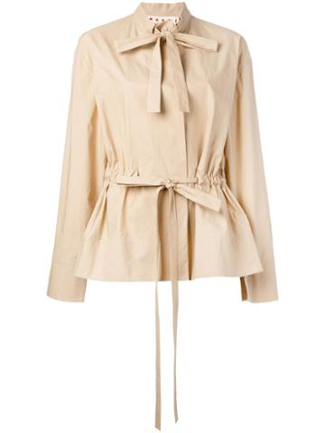 Marni - Pussy Bow Military Blouse - Women - Cotton - 42, Nude/neutrals, Cotton