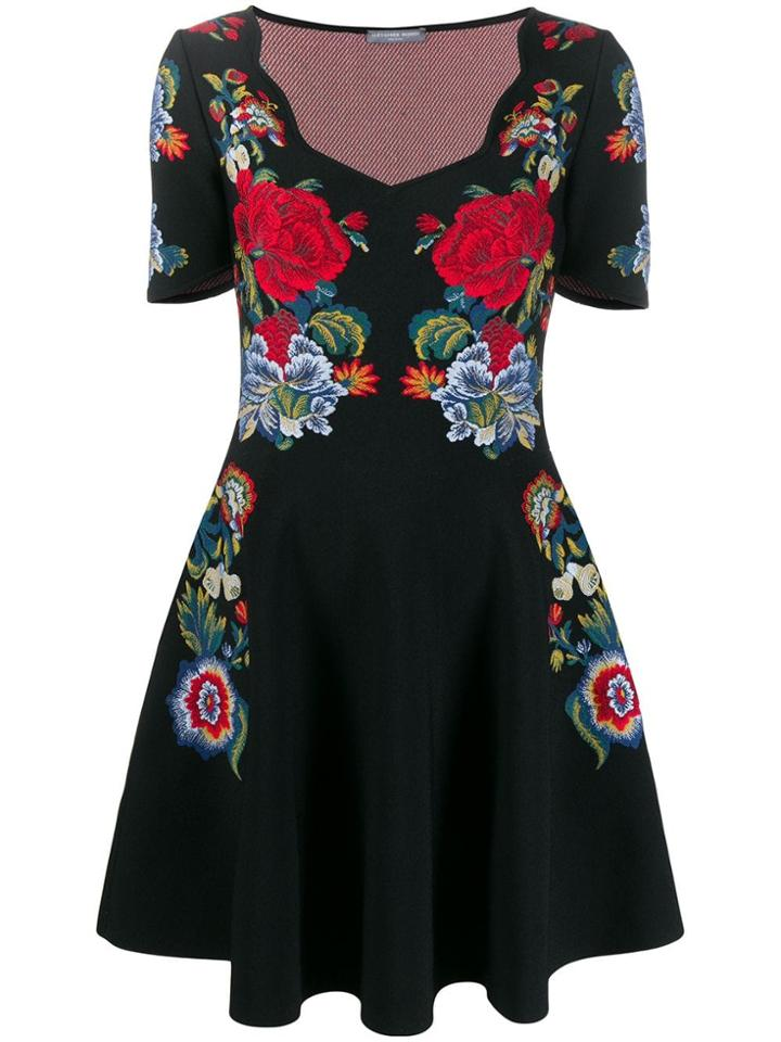 Alexander Mcqueen Floral Knit Mini Dress - Black