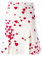 Moschino Vintage Heart Print Pleated Skirt, Women's, Size: 36, White