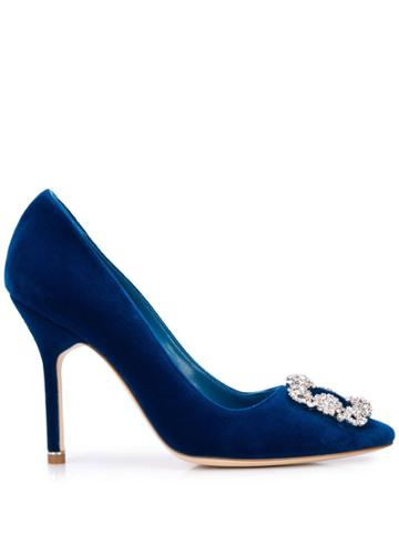 Manolo Blahnik Embellished Buckle High-heel Pumps - Blue