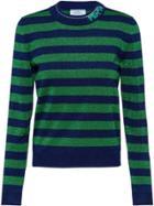 Prada Striped Lamé Sweater - Blue