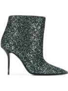 Saint Laurent Glittered Ankle Boots - Green