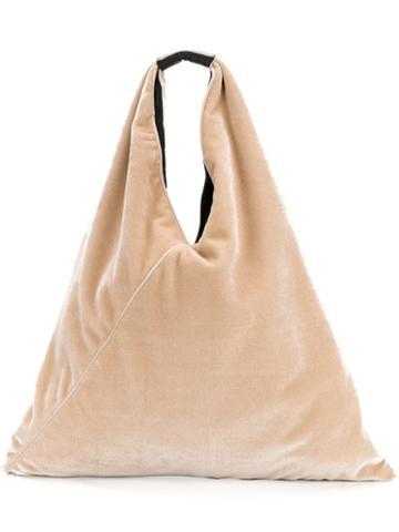 Mm6 Maison Margiela - Textured Shoulder Bag - Women - Leather/velvet - One Size, Nude/neutrals, Leather/velvet