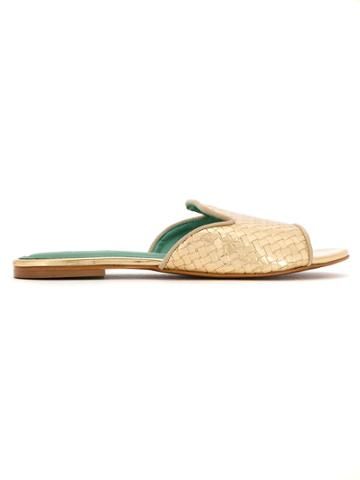 Blue Bird Shoes Patent Leather Woven Mules - Yellow & Orange