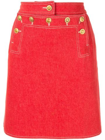 Chanel Vintage Cc Logos Skirt - Red