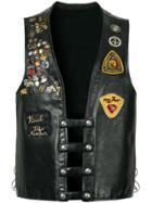 Fake Alpha Vintage Embroidered Leather Gilet - Black