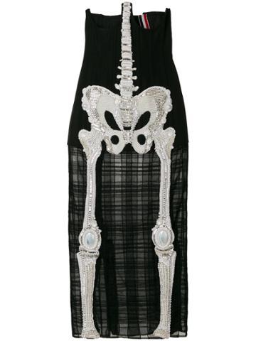Thom Browne Trouser Length Cardigan Skirt In Crystal Skeleton