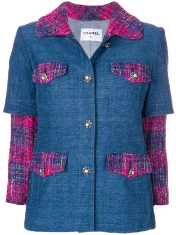 Chanel Vintage Layered Tweed Denim Jacket - Blue