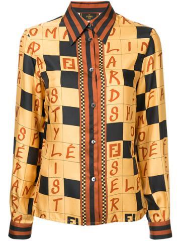 Fendi Vintage Checked Logo Shirt - Brown