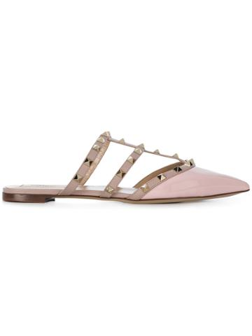 Valentino Rockstud Slippers - Pink & Purple