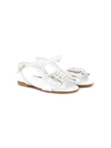 Montelpare Tradition Teen Embellished Bow Sandals - White