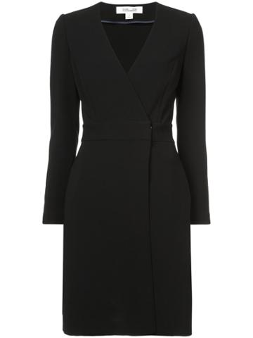 Dvf Diane Von Furstenberg Long Sleeve A-line Wrap Dress - Black