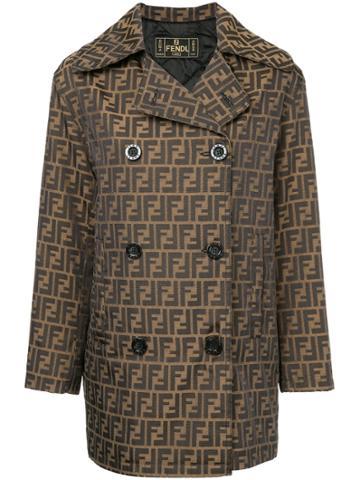 Fendi Vintage Zucca Pattern Boxy Coat - Brown