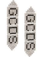 Gcds Crystal Logo Earrings - Silver