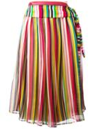 No21 Striped Midi Skirt, Women's, Size: 38, Silk/acetate/cotton