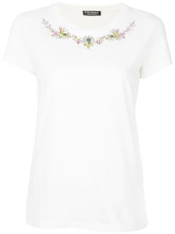 Twin-set - Jewel Embellished T-shirt - Women - Cotton - M, White, Cotton