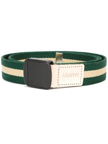 Ganryu Comme Des Garcons Striped Belt, Men's, Green, Acrylic/nylon/polypropylene