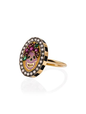 Holly Dyment 18k Yellow Gold Skull Diamond Sapphire Ring - Unavailable